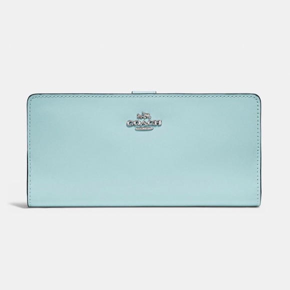 102bdb8a4e5f Coach Skinny Slim Wallet Light Turquoise Blue